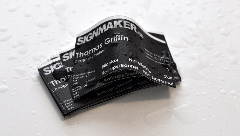 Flexible & waterproof business cards for Signmaker AS (Oslo Printed Vinyl, FlexiSIGN)