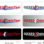 Oslo Taxi New logo concept with simulation of typical car body paints used. (Illustrator & FlexiSIGN)