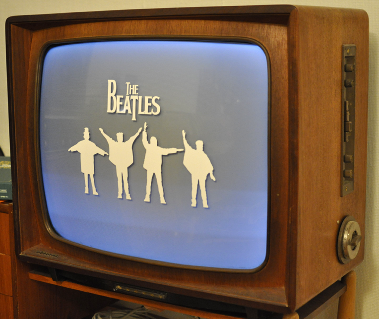 'The Beatles Channel' is always on! (Cut Vinyl on ca.1963 TV set)