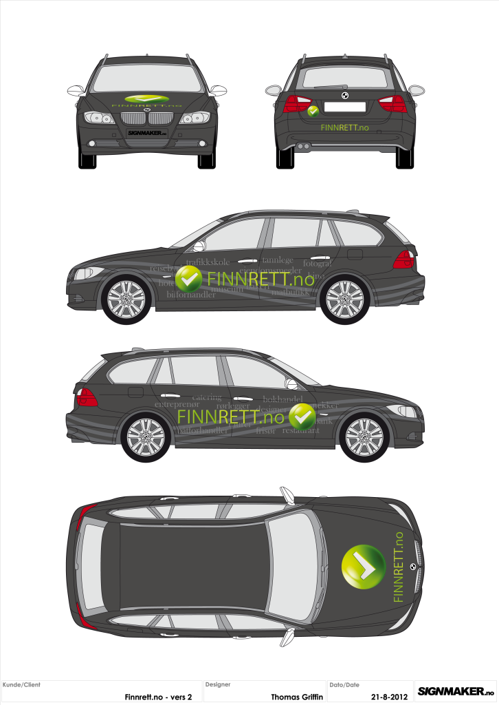 Finnrett.no BMW (Illustrator/FlexiSIGN)
