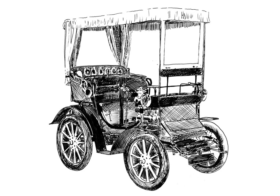 Horsless carriage #2 Pen on paper drawing