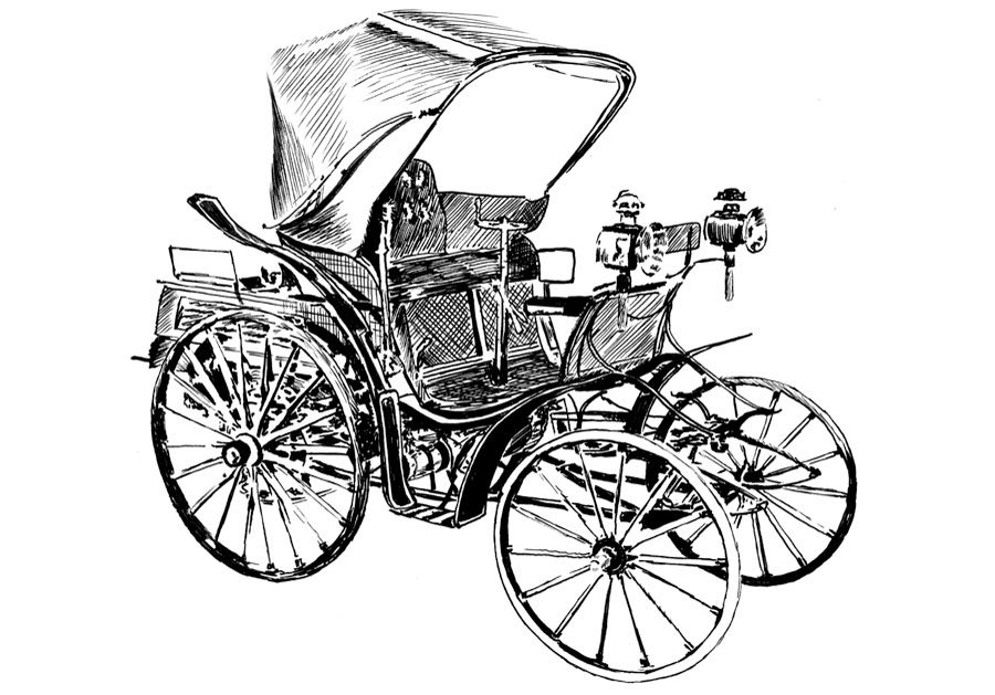 Horsless carriage #1 Pen on paper drawing